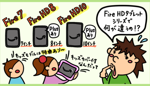 Fire HD 10、Fire HD 8、Fire 7、Plusとキッズモデルの違い。Amazon Fireタブレットの選び方。